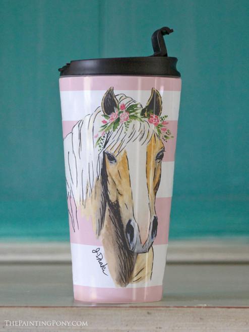 Whimsical Haflinger Horse Head Travel Tumbler