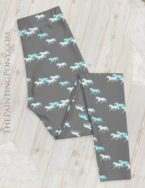 Trotting Horse Herd Equestrian Leggings (More Colors Available)