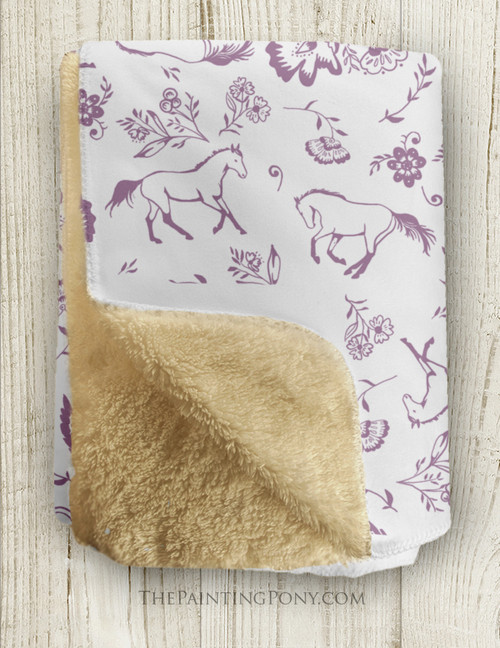 Country Floral Horse Themed Fleece Throw Blanket
