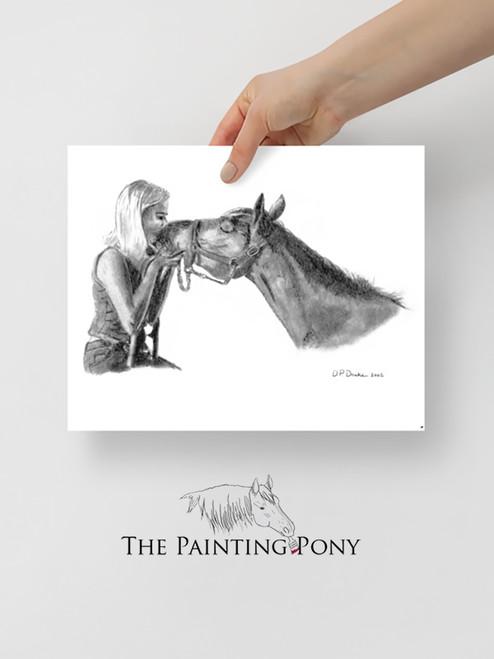 Horse Kisses Sketch Equestrian Art Print