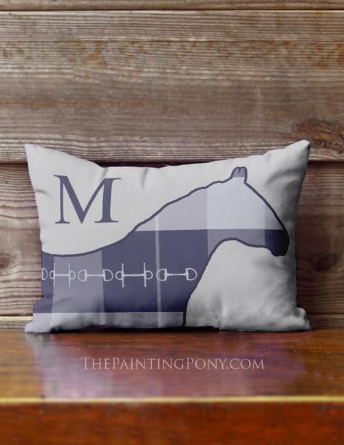 Blue Plaid Horse Monogram Accent Pillow