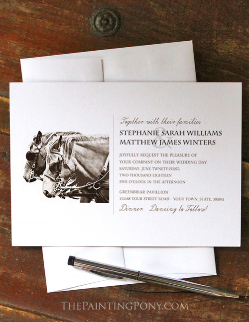 Carriage Horse Equestrian Wedding Invitation (10 pk)