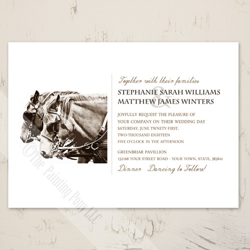 carriage horse equestrian wedding invite