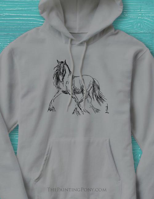 Trotting Horse Sketch Hoodie