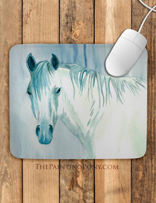 Blue Mare Watercolor Horse Art Mousepad