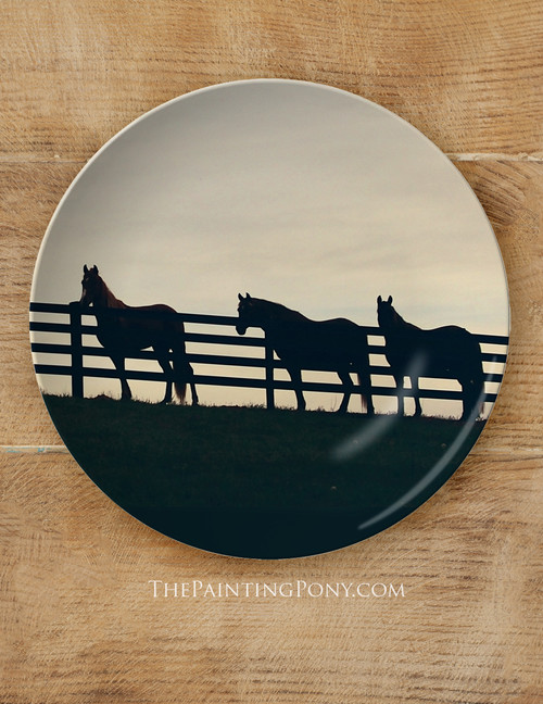 """Horses at the Fence Equestrian 10"""" Plate"""