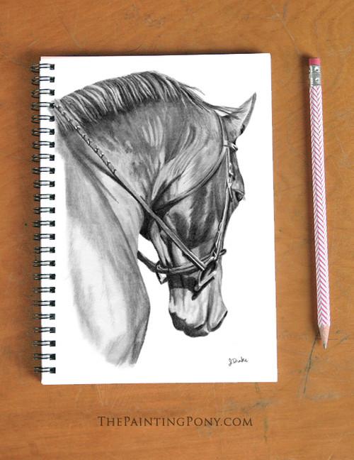 Horse Head Art Equestrian Spiral Notebook