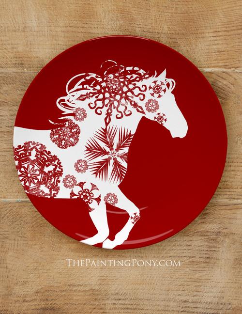 "Festive Snowflake Horse 10"" Equestrian Plate"