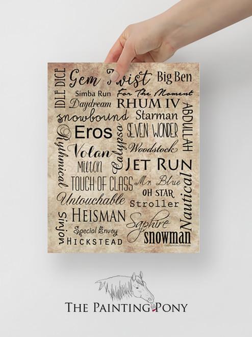 Famous Show Jumper Horses Equestrian Typography Print