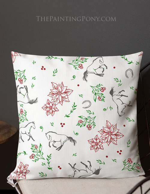 Equestrian Christmas Floral Throw Pillow
