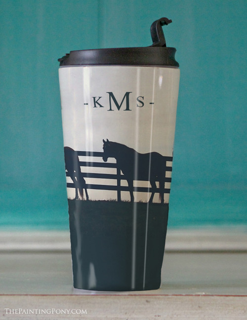 Monogramed Horses At the Fence Travel Tumbler