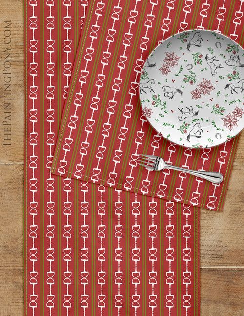 Red and Green Striped Horse Bits Equestrian Table Runner
