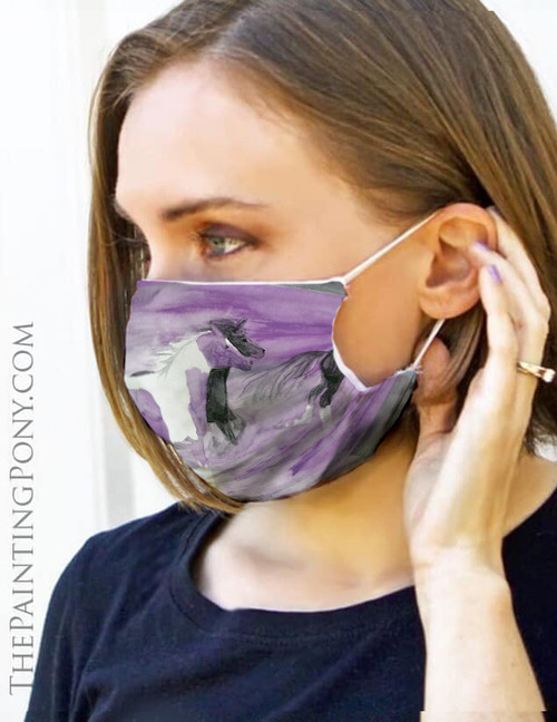 Purple Galloping Horses Watercolor Equestrian Face Mask Coverlet