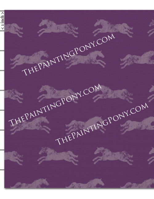 Purple Galloping Horse Fabric by the Yard