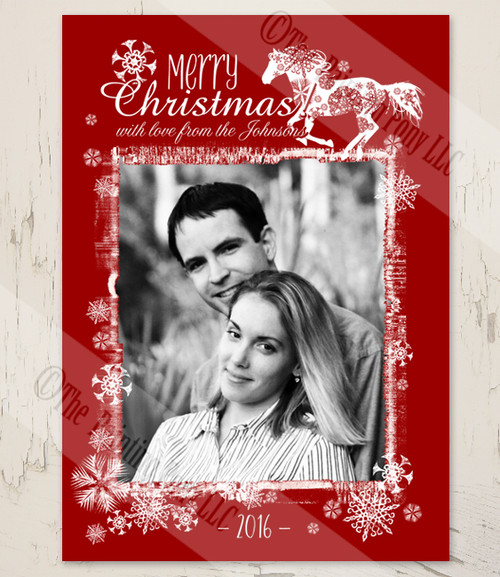Red and white equestrian snowflake horse christmas card