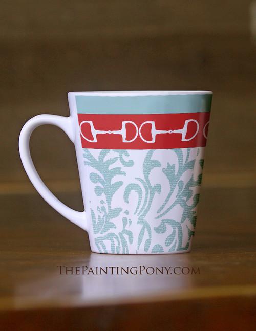 Damask Horse Bits Equestrian Latte Mug