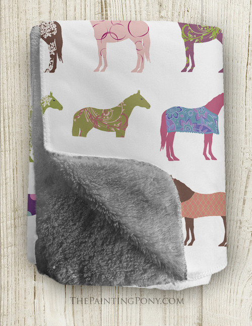Fun Horse Pattern Sherpa Fleece Throw Blanket