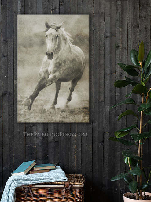 Rustic Dappled Grey Galloping Horse Gallery Wrap Canvas Wall Art
