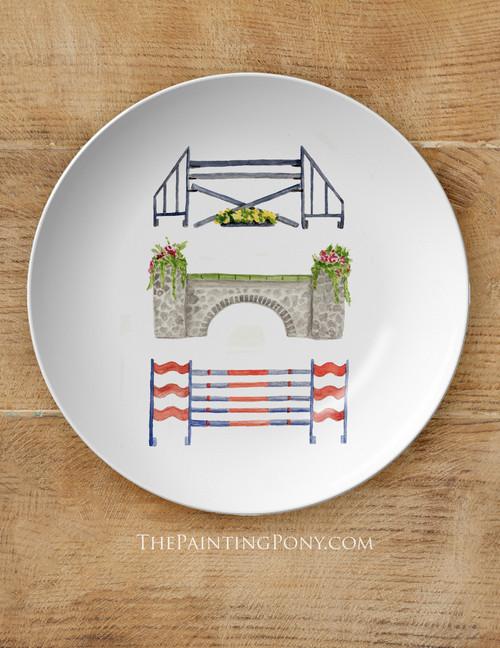 "Horse Jump Watercolor Art Equestrian 10"" Plate"