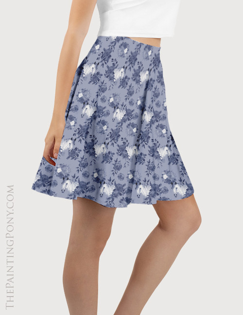 Blue Floral Horse Head Pattern Equestrian Flare Skirt