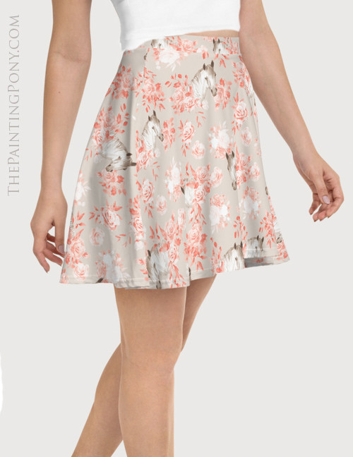 Floral Horse Head Pattern Equestrian Flare Skirt