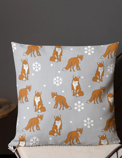 Winter Snow Fox Throw Pillow