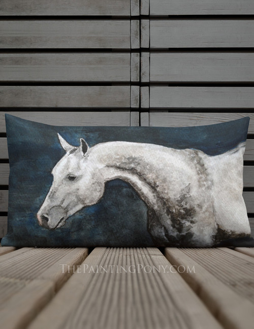 Dappled Gray Horse Head Pillow