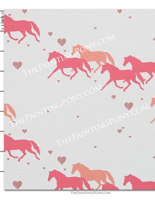 Pink Trotting Pony and Hearts Fabric by the Yard