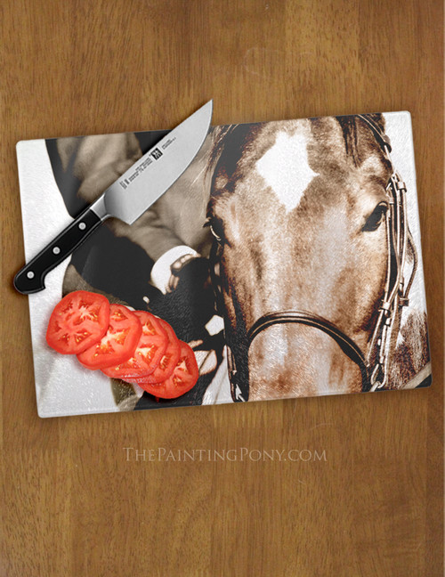 Show Horse Equestrian Glass Cutting Board