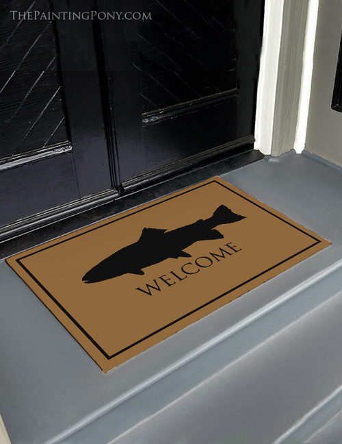 Fly Fishing Trout Welcome Door Mat