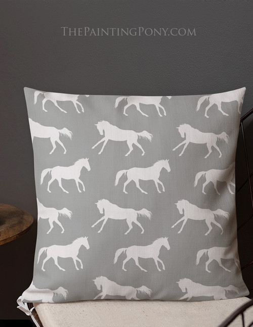 Gray Horse Pattern Pillow