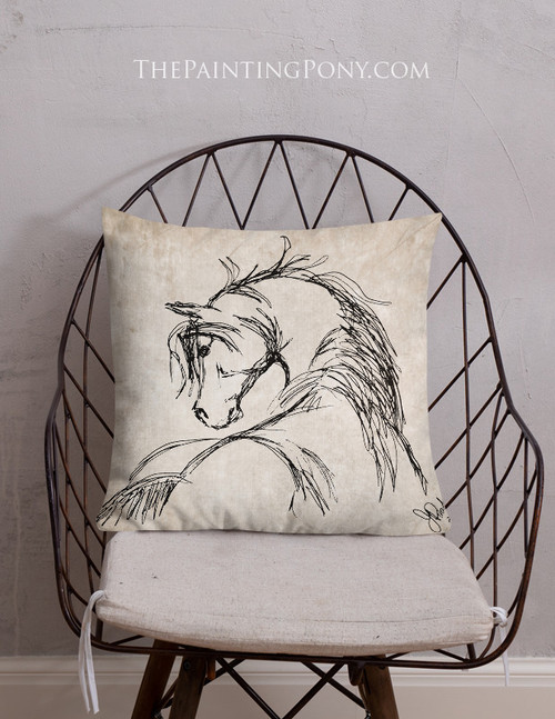 Rustic Horse Head Sketch Throw Pillow