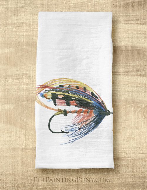 Salmon Fly Fishing Lure Art Tea Towel