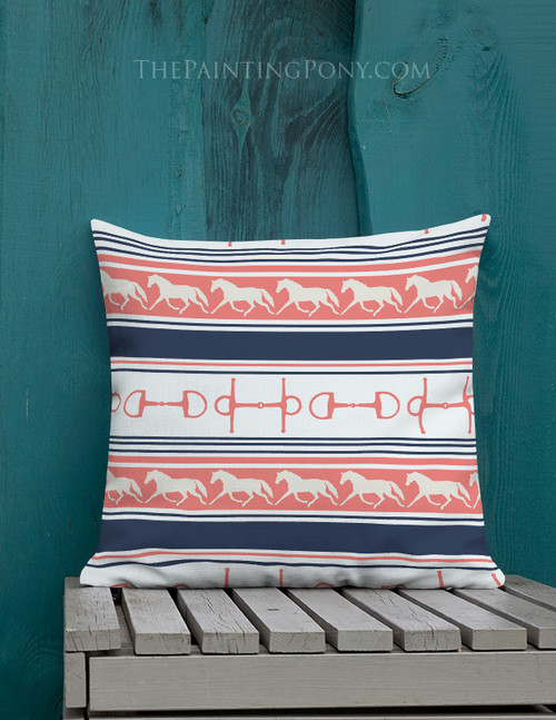 Horses Bits and Stripes Throw Pillow