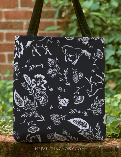 Country Floral Horse Pattern Tote Bag