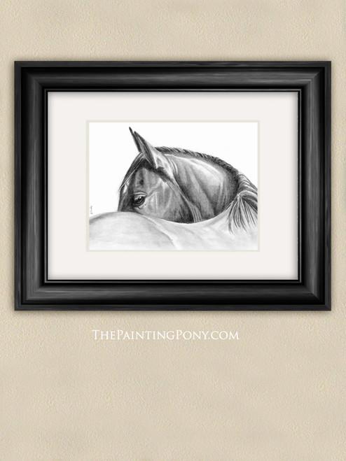 Graphit Horse Head Study Fine Art Print