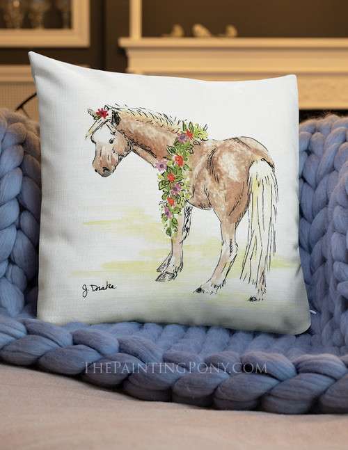 Whimsical Pony Art Equestrian Throw Pillow