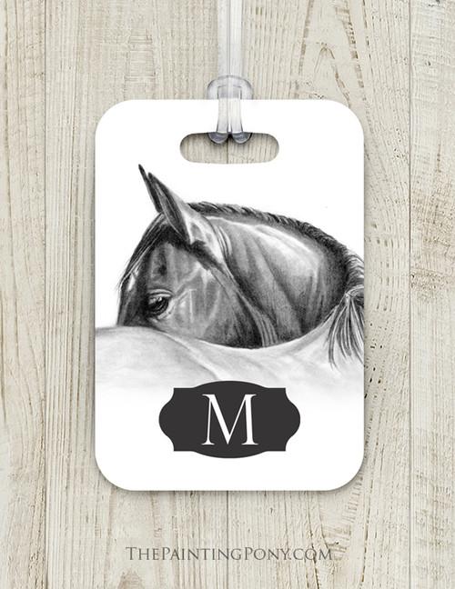 Classy Horse Head Custom Luggage Tag