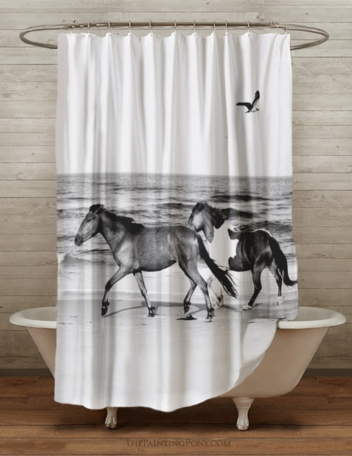 Galloping Beach Horses Equestrian Shower Curtain