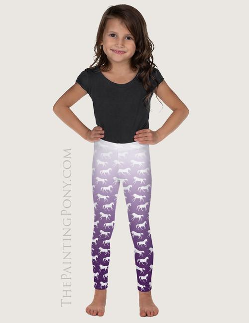 Purple Ombre Unicorn Pattern Equestrian Kids Leggings