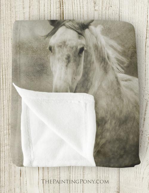 Galloping Dappled Grey Horse Fleece Throw Blanket