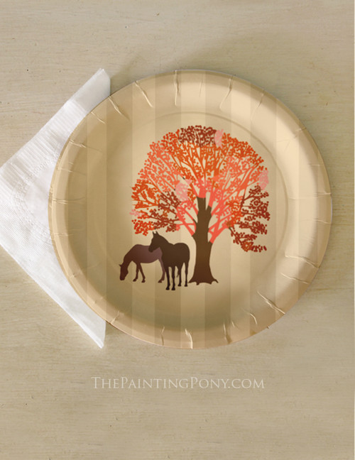 Autumn Equestrian Thanksgiving Horse Themed Paper Party Plates (8 pk)