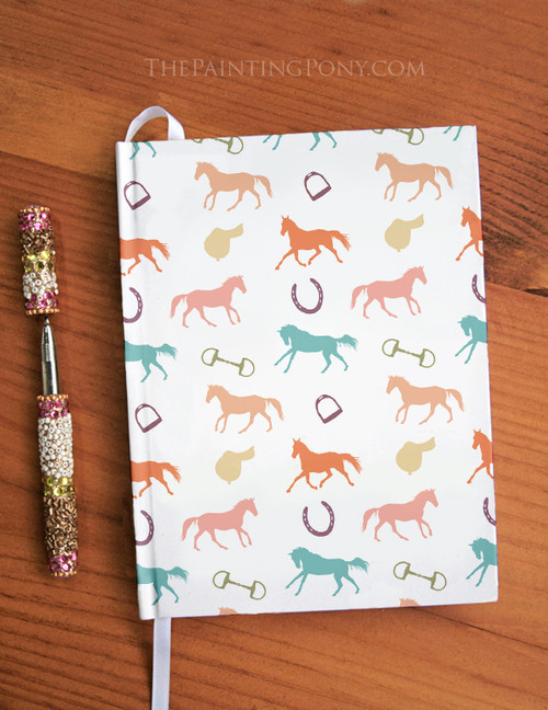 Fun English Horses Patterned Equestrian Designer Hardbound Journal