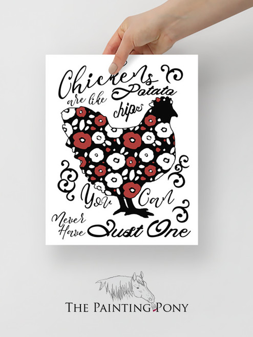 Chickens are like Potato Chips Typography Art Print