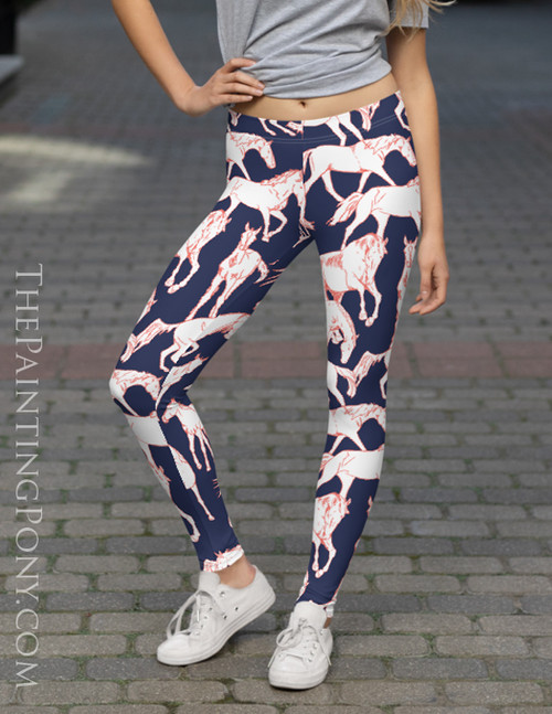 Horses All Over Equestrian Leggings (More Colors Available)