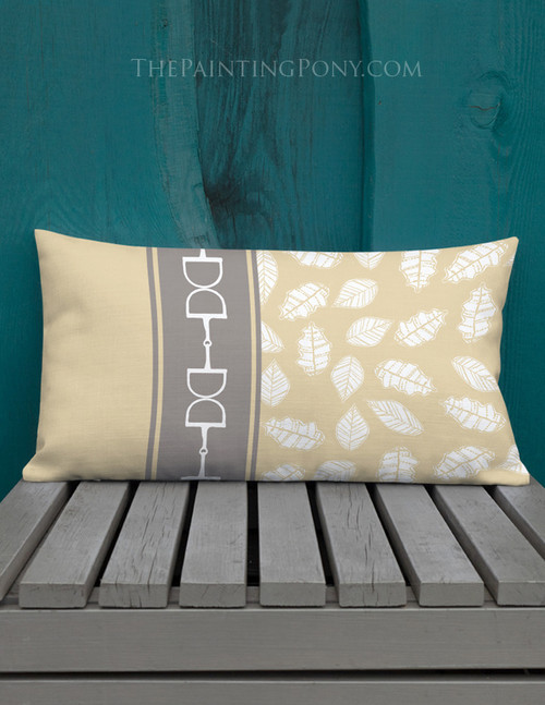 Horse Bits and Fall Leaves Equestian Lumbar Pillow