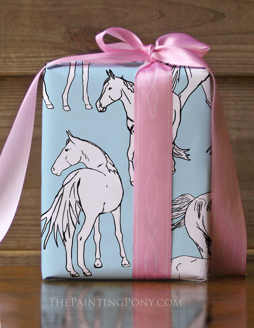 Horses All Over Birthday Party Pony Gift Wrapping Paper