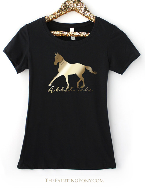 Gold or Silver Foil Akhal-Teke Horse Women's Crew Tee
