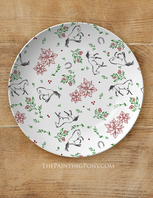 """Christmas Poinsettia Horse Pattern Equestrian 10"""" Holiday Plate"""