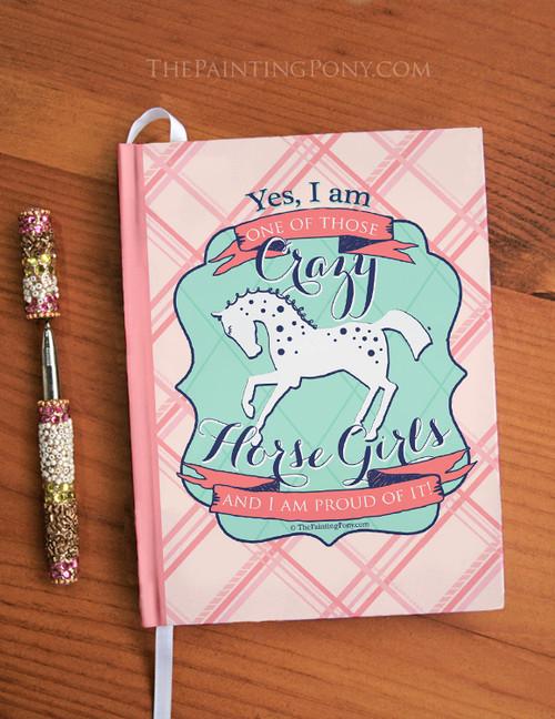 Crazy Horse Girl Equestrian Designer Hardbound Journal